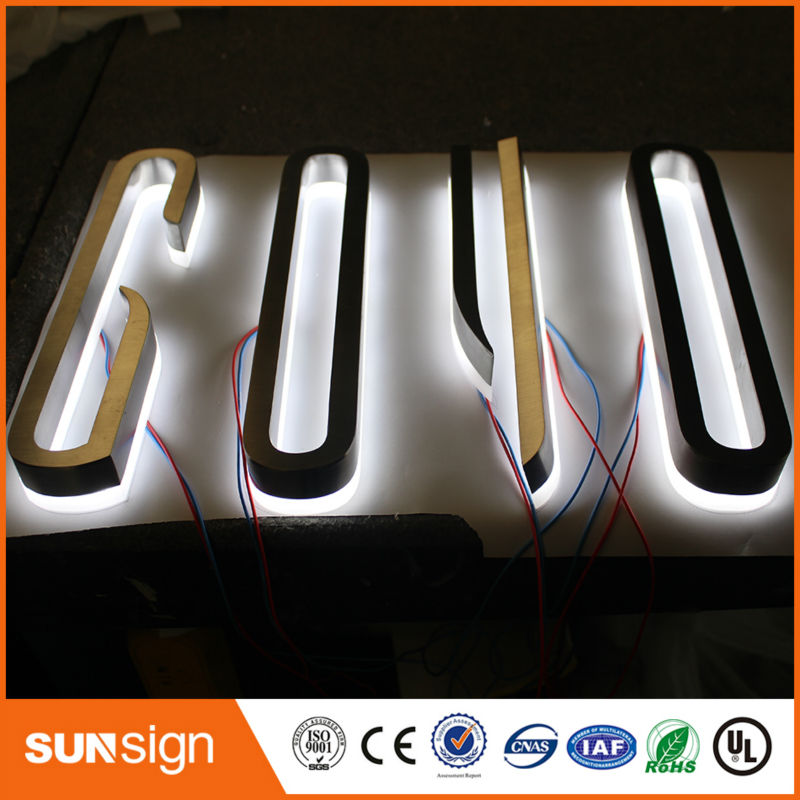 Hot Sale Led Backlit Logo,wall Decor Metal Letters Stainless Steel Backlit Sign