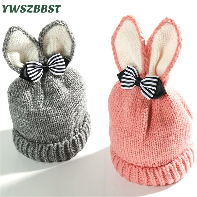 Fashion Baby Hats with Bowknot Autumn Winter Hat for Girls Kids Crochet Beanies Boys Caps with Bunny Ears Knit hats fit 0 to 3Y autumn winter beanie hat knitted wool beanies cap with raccoon fox fur pompom skullies caps ladies knit winter hats for women