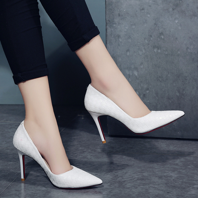 QSR 10CM Pumps Women White girl high heel women's fine with Women's shoes new pointed black fresh princess shoes