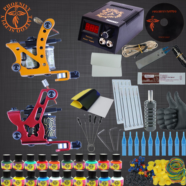 Complete Tattoo Kit 2 Machines Gun 20 Color Inks Power Supply Needles Set 20 Color Tattoo Ink Set LED Free Shipping Power Supply