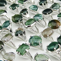 Guaranteed 10pcs 100% Natural Green Stones Tourmaline Stones Mix Style Fashion Rings for Womens Mens Wholesale jewelry Lots A002