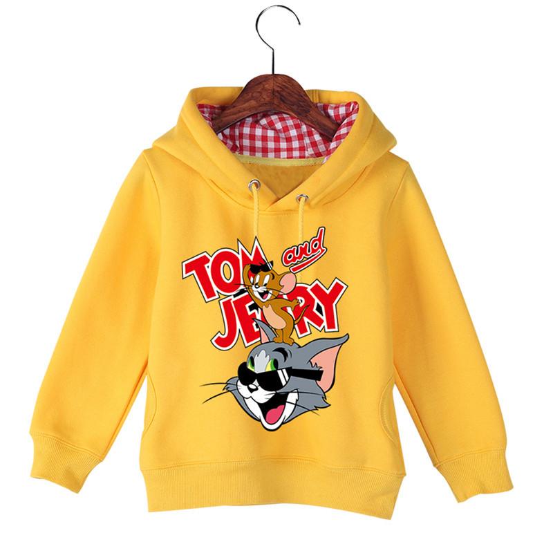 Jiuhehall Good Quality Boy Girl Plus Velvet Sweatshirts Cat and Mouse Print Kids Hooded Hoodie Cotton Children\'s Pullover GCM130 (7)