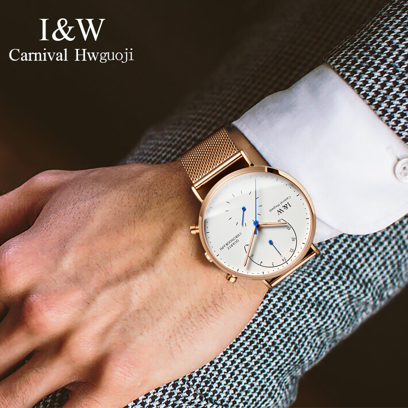 2017 CARNIVAL I & W Роскошные ультратонкие миланские кварцевые мужские часы TopBrand сапфировое стекло двойное время простой водонепроницаемый Montre - 4
