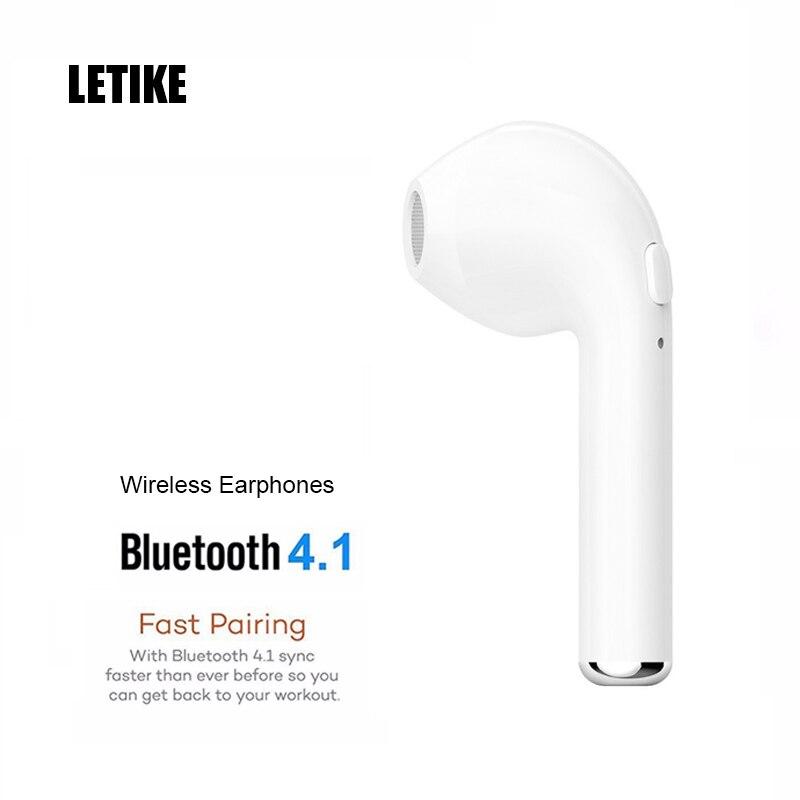 LETIKE Wireless Bluetooth V4.1 Earphones Mini In-ear Earbuds Single Left Ear HBQ i7 for iPhone Smartphone Music Stereo headset