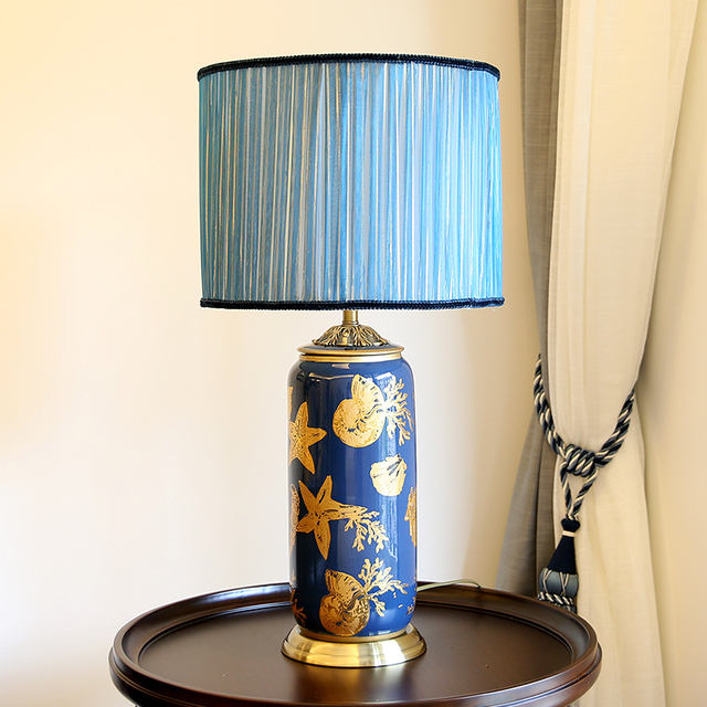 Classical Living Room Ceramic Table Lamp Hotel Decoration Bedroom Bedside  Table Light Classic Blue Art Table Lamps ZSH5072