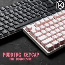푸딩 pbt doubleshot keycap 기계식 키보드 용 oem 백 라이트 밀크 화이트 핑크 블랙 gh60 포커 87 tkl 104 108 ansi iso
