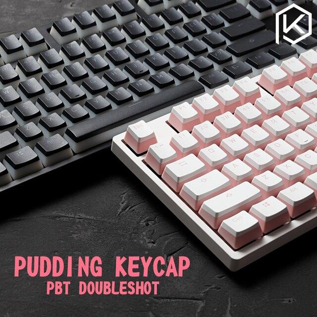 pudding pbt doubleshot keycap oem back light  mechanical keyboards milk white pink black gh60 poker 87 tkl 104 108 ansi  iso