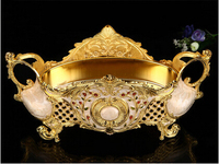 Alloy Carved Floral Carved Metal Fruit Bowl Desk Sugar Storage Tray Decorative Tray Serving Tray Gold