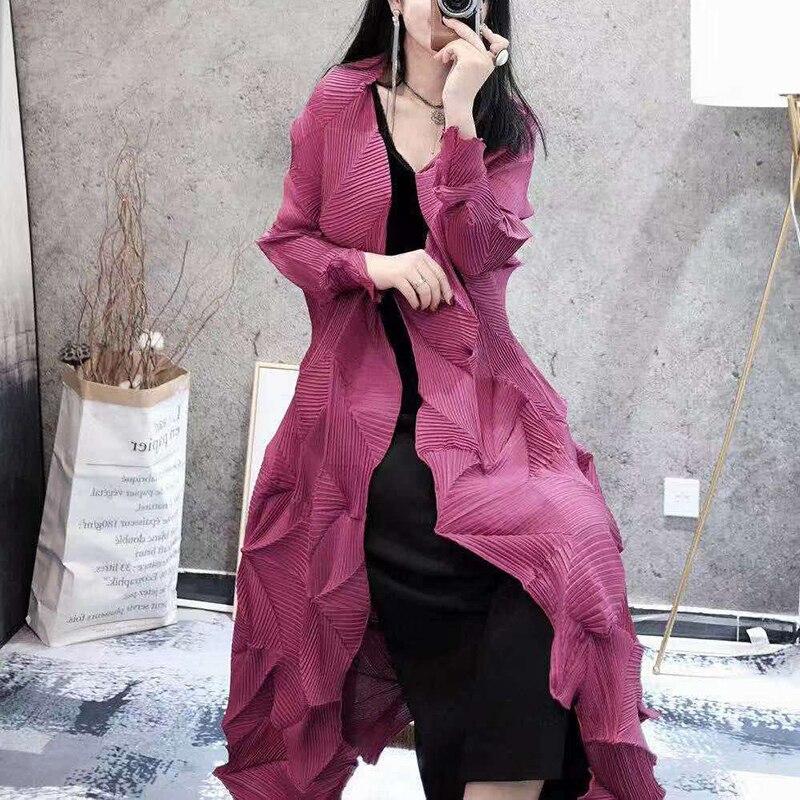 LANMREM 2019 new fashion women clothes V neck full sleeves light yellow open stitch pleated cardigan female jacket WG53407
