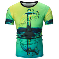 3D T Shirts Tops Tees Short Sleeve T-shirt Men Drops Of Water Ice Printed Novelty Vintage Design Tops