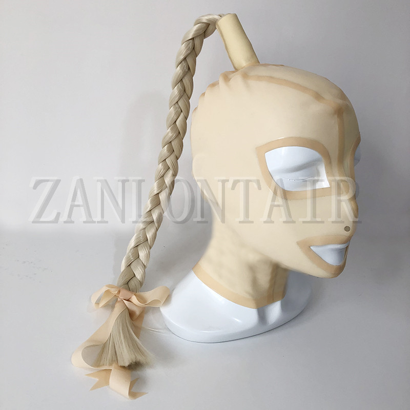 new design exotic sexy transvestite lingerie handmade nuder color latex hoods mask cekc with pigtail Twisted braids wig fetish in Teddies Bodysuits from Novelty Special Use