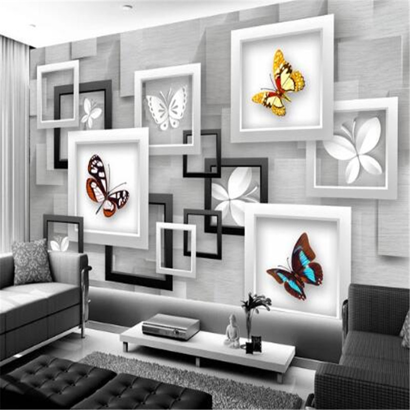 Custom Wallpapers 3D Stereoscopic Butterfly Photo Wall Murals Silver Gray Box Wallpapers Wall Papers for Living Room Home Decor circle mirror photo wallpapers 3d modern abstract murals wall papers home decor wallpapers for living room wall paste wall mural