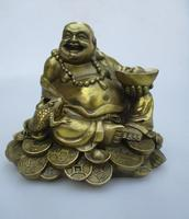 High: 15CM!!! Art Collection Home Decorated Brass Carved Lucky Money Buddha Statue/Home Feng Shui Sculpture 0002