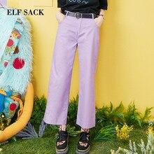 ELFSACK 2019 ข้อเท้าความยาวกางเกงสุภาพสตรีกางเกงขากว้าง Streetwear