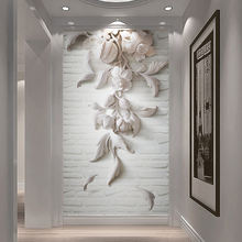 Пользовательские настенные фрески 3d тисненые белые цветы фотообои