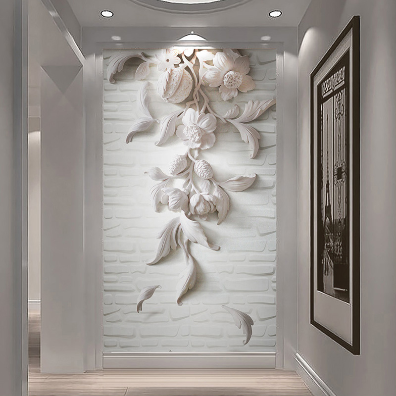 Custom Wall Murals 3D Embossed White Flower Photo Wallpapers Living Room Hotel Entrance Backdrop Wall Cloth Art Papel De Parede