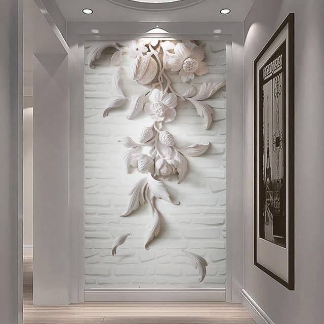Tùy chỉnh Tường Bức Tranh Tường 3D Nổi Trắng Hoa Ảnh Hình Nền Phòng Khách Lối Vào Khách Sạn Backdrop Tường Vải Nghệ Thuật Papel De Parede