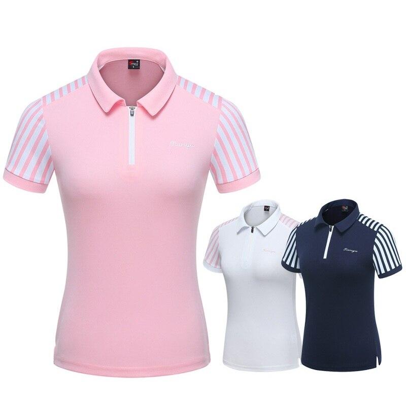 2019 femmes rayé Patchwork chemise de Golf dames à manches courtes respirant chemises Fit sec hauts Golf Sportswear D0696