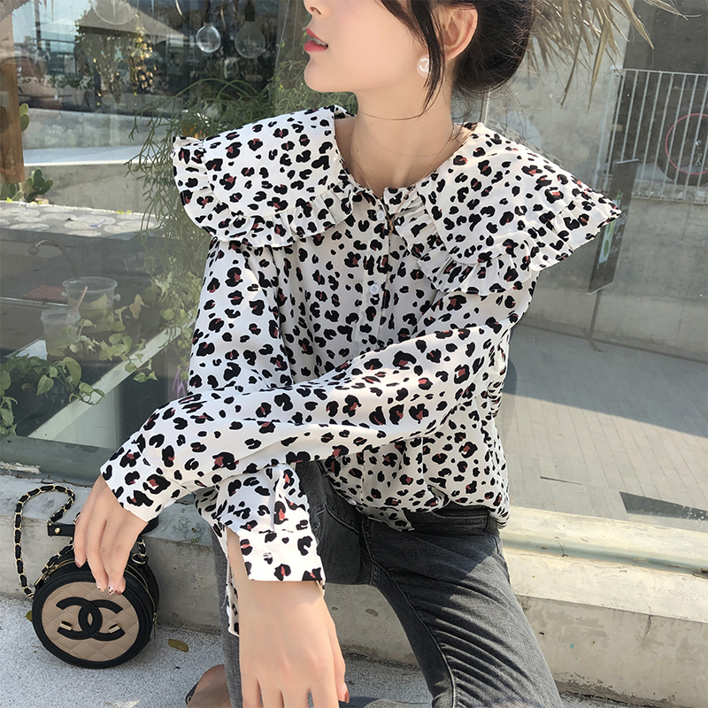 Mx19a4537 Tops Sexy Leopardo Ropa Blusa Las 2019 Camisa Mujeres Mishow De Manga Casual Gasa Larga P6fXA