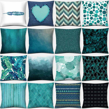 Cushion Cover Blue Pillow Cover 45*45 Throw Pillows Soft Home Bedroom Living Room Decorative Geometric Pillow Case Home Decor 2019 newest plaid pillow case 45 45cm cotton and linen pillow cover elastic cushion cover for living room bedroom office decor