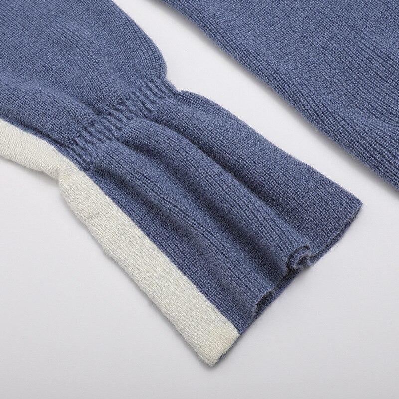 8b86c49ea 2018 Outono Inverno Mulheres Camisolas Trompete Manga camisola de Malha  gola redonda Senhora Azul bonitas camisas camisas de suor para meninas em  Pullovers ...