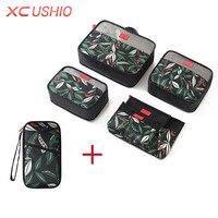 多機能花柄組み立てるトラベル収納袋セットスーツケースオーガナイザーバッグ服ポーチパスポート財布保護ケース