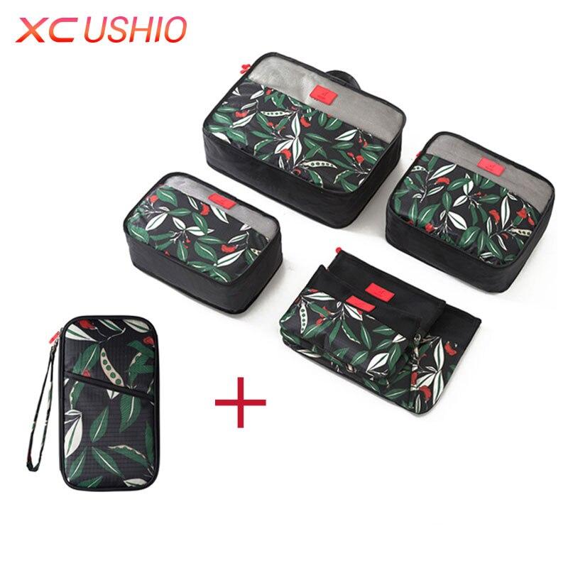 Multifunctional Floral Pattern Assemble Travel Storage Bag Set Suitcase Organizer Clothes Pouch Passport Wallet Protective Case