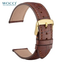 WOCCI Watch Band Genuine Leather Watch Strap 18mm 19mm 20mm 21mm 22mm for Men Women Red Stitching Watch Strap on Wrist Belt