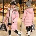 2017 Crianças de Moda Rosto Quente Parka Casaco de Inverno Outwear Longa Seção Para Baixo Parkas de Pele Grossa Com Capuz Casacos de Inverno Crianças Menina