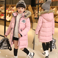 2017 Fashion Children Warm Face Parka Winter Coat Outwear Long Section Down Thick Fur Hooded Kids Girl Winter Jackets Parkas