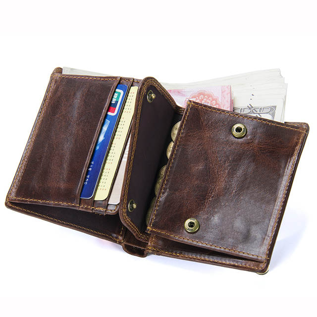 Online Shop Small Vintage Bag <b>Genuine</b> Leather <b>Men Wallets</b> Coin ...