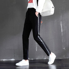 Hot Summer Spring Fashion Women White Sliver Stripe Ninth Sport Trousers Simple Tide Ladies OL Harem Joggers Pants Clothes XXXL