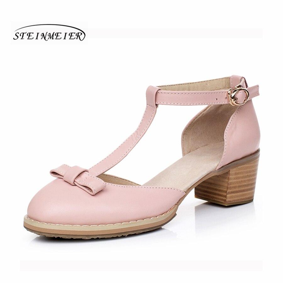 여성 샌들 옥스포드 신발 빈티지 정품 가죽 하이힐 검투사 옥스포드 여름 플랫폼 샌들 여성 슬리퍼 2019-에서중 힐부터 신발 의  그룹 1