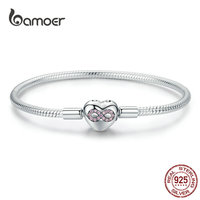 BAMOER Infinity Heart Bracelet Sterling Silver 925 Heart shape Love Snake Bangle Bracelets 3mm for DIY Fine Jewelry SCB142