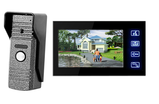 """Wholesale Wired Touch Key home security doorbell 7"""" Video Door Phone Doorbell Intercom IR Camera Monitor free shipping"""
