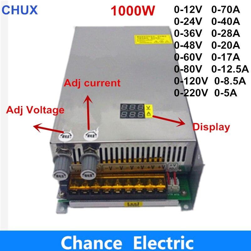 Adjustable 1000W switching power supply with Digital Display adjustable power supply dc 12V 24V 36V 48V 60V  80V 120V  220VAdjustable 1000W switching power supply with Digital Display adjustable power supply dc 12V 24V 36V 48V 60V  80V 120V  220V