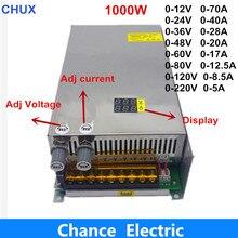 Регулируемое напряжение и ток 1000 Вт импульсный источник питания с цифровым дисплеем 0-12 в 0-24 в 0-36 в 0-48 в 0-60 в 0-80 в 0-120 в