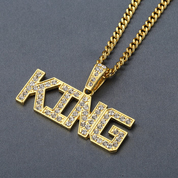 Full Rhinestone King Shape Pendants Necklaces 1
