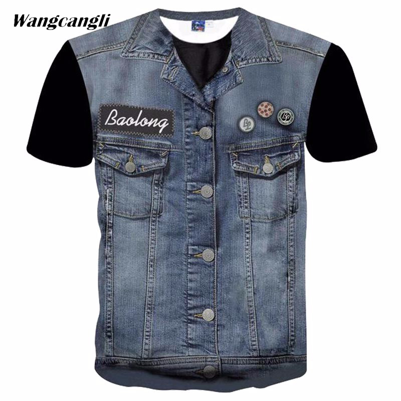 Wangcangli New Creative Denim Tops 3D Jean Jacket Personality Pattern Print Mens T-shirt Summer Fashion T-shirt short sleeve