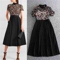 Plus size mulher runway 2017 dress manga curta rendas química solúvel em água patchwork preto midi dress de alta qualidade ao verão de 70 s
