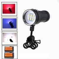20000LM Led Underwater Video Diving Flashlight 6x SS T90 Led White 4x Red 4x UV Blue