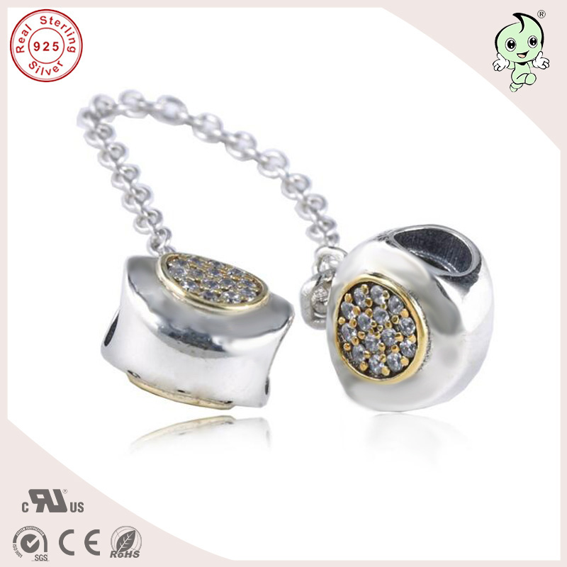 New Collection High Quality Two Tone Classic Logo Design 925 Sterling Silver Safe Chain Charm Fitting