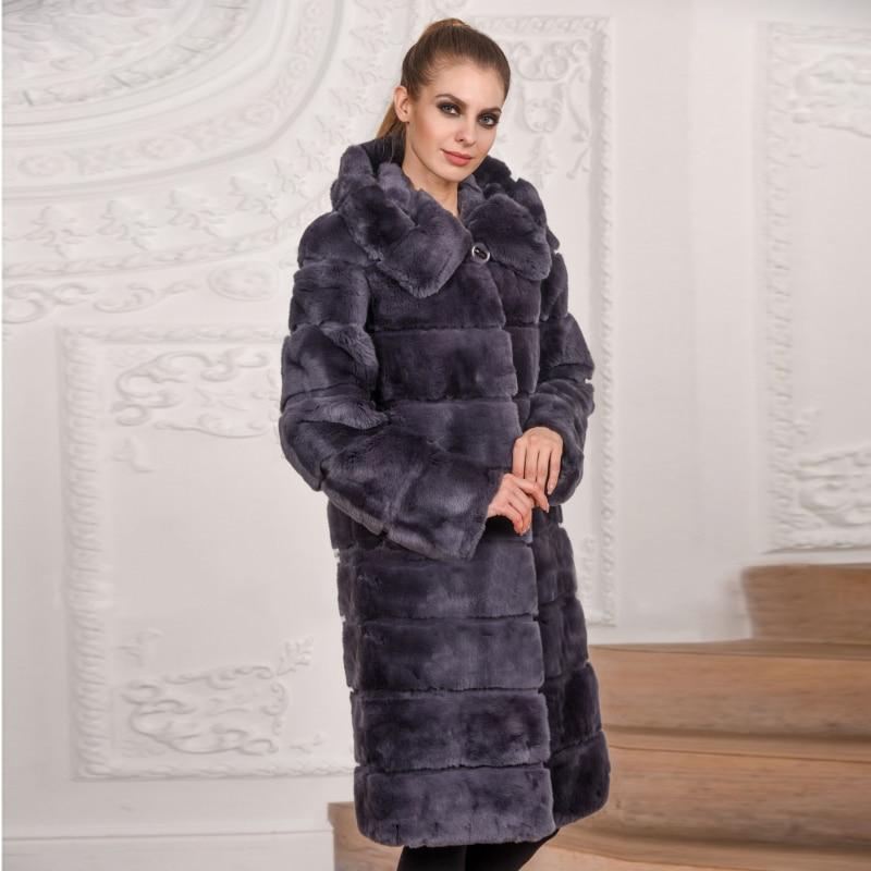 Fourrure Avec D'hiver Pour De Brown Luxe Mode Chaud Veste Capuche Lapin Femmes Chinchilla Dark Naturelle 054 2018 Manteau pink Rb Rex wxwXPqY