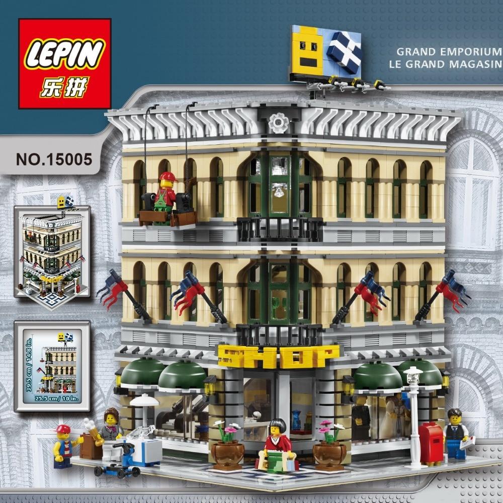 the legoinglys new LEPIN 15005 NEW 2232Pcs City Grand Emporium Model Building Blocks Kits Brick Toy Compatible 10211 цена