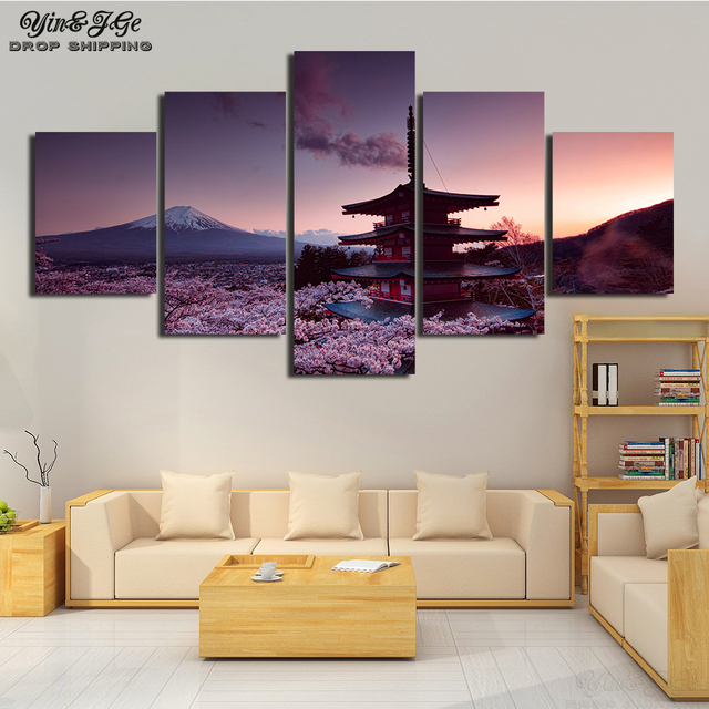 Wall Art Modular Canvas Painting HD Print 5 Pieces Chureito Pagoda And Mount Fuji Poster Picture Decor Living Room Artwork Frame
