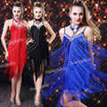 Vestido, mulheres longas franjas Backless Rhinestone Deco Clubwear Gatsby Halter ritmo dança