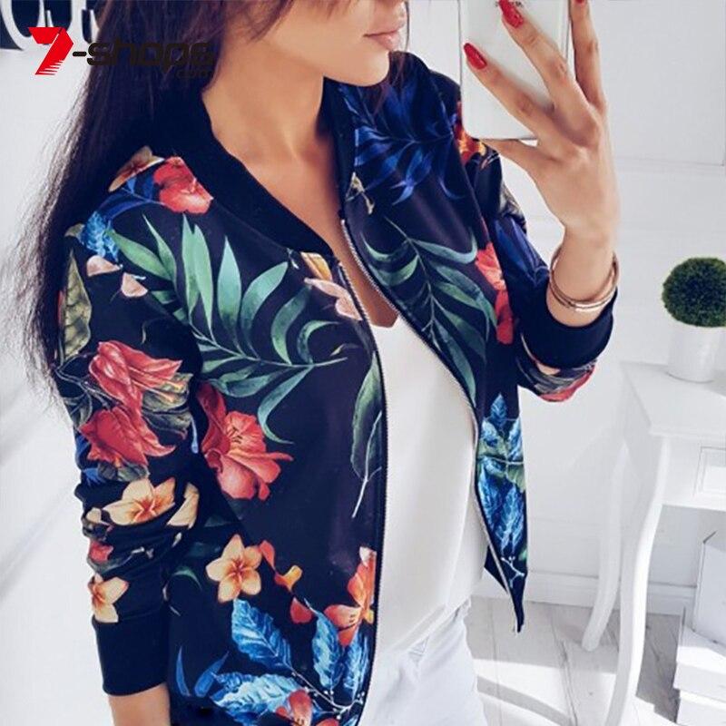 7-shops Spring Autumn Women's Jacket Retro Floral Print Zipper Casual Long Sleeves Feminino Short Coats Outwear Female Clothing