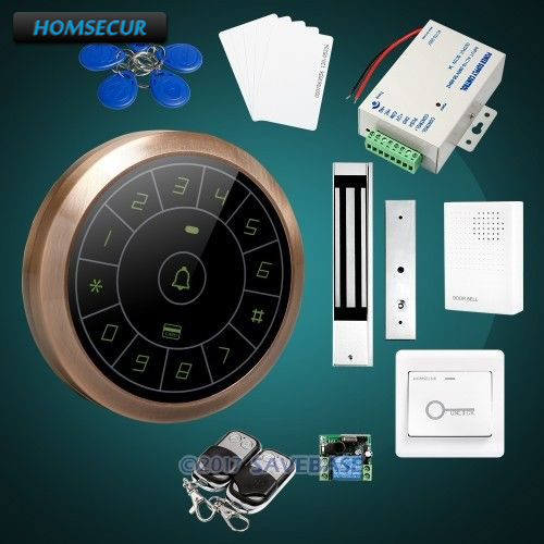 HOMSECUR Round Red Bronze Touch Keypad ID Access Control System + Wired Doorbell For Outdoor Security