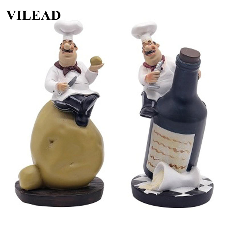 VILEAD 18cm 4Pcs/Set Resin Potato Chef Combination Figurines Fashion Crafts Character Small Ornament For Home Bread Decoration