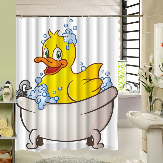 CHARMHOME Cute Shower Curtain Yellow Duck Bathroom Products Polyester Bath Screen Liners Animal Pattern Curtains